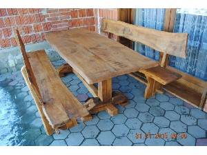 Table with two benches - old oak tree