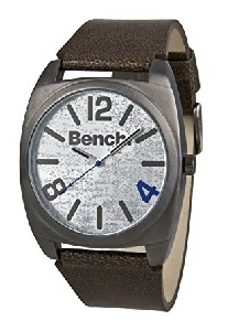 Bench Gents Silver Sunray Dial Brown Strap Watch BC0267GNBR