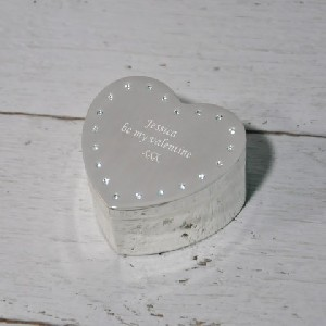 Sophia Silver plated Personalised Heart Trinket Box