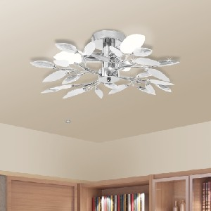 vidaXL Ceiling Lamp White & Transparent Crystal Leaf - 240980 New