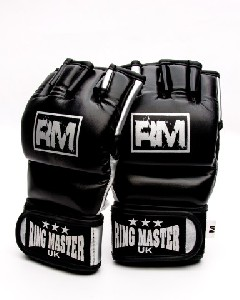 MMA Gloves Synthetic Leather Black and Silver