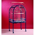 blue parrot cage with bowls toys and ladders