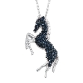 Blue Diamond (Rnd) Horse Pendant With Chain in Platinum Overlay