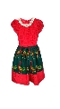 Girls African Print Lace Pleated Party Dress in Red and Green