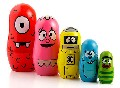 5 CUTE WOODEN NESTING MATRYOSHKA FUNNY FACE RUSSIAN DOLL HOME DEC