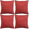 vidaXL Cushion Covers 4 pcs Linen-look Burgundy 131568 New