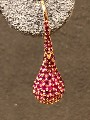 Modern drop earrings ruby and gold 5.10 grams 3.36 ct