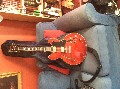 Semihollow es335 clone electric guitar. Cherry red