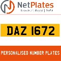 DAZ1672 NETPLATES PERSONALISED PRIVATE CHERISHED DVLA NUMBER PLA