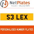 S3 LEX NETPLATES PERSONALISED PRIVATE CHERISHED DVLA NUMBER PLA