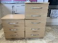 Three drawer bed side cabinet and tall boy five drawer cabinet